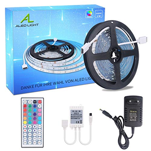 ALED LIGHT LED Strip RGB 5M SMD 5050 150 LED's LED strips, LED tape, 12V voeding & 44 toetsen afstandsbediening, LED strepen licht tape strip tape verlichting [energieklasse A +]