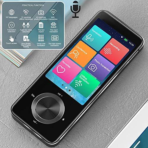 InLoveArts Dispositivo de traducción de idiomas con 107 idiomas, WiFi/Grabación sin conexión/Traducción de fotos Pantalla táctil de 3.0 pulgadas, Chat grupal de soporte