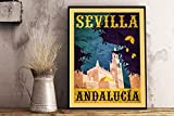 JuYiCk Cartel retro de viaje de Sevilla, Andalucía, Sevilla, España, retro, de viaje, de estilo vintage, de metal, para decoración de arte, 20 x 30 cm