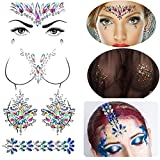 Rhinestone Body Gems Jewels,Mermaid Face Jewels Stick on, Rainbow Chest Gems Tattoo, Crystals Breast Pasties Gem Bindi Nipple Covers, Hair Jewelry Gliiter for for Festival Rave,4-Pack