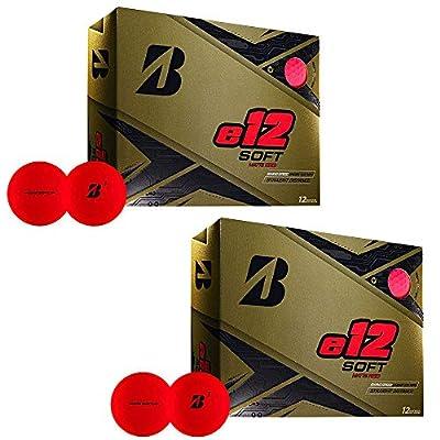 Bridgestone Golf Series e12 Soft 3-Piece Distance Golf Balls, Red (2 Dozen)