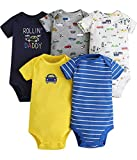 Bestele Bebé Bodies, Short-Sleeve Bodysuit para Niños Niñas,Bebé Corta Body Mameluco Manga Corta Ropa de Verano Primavera Otoño Algodón Pelele (5*Auto Set, 3-6 Meses)
