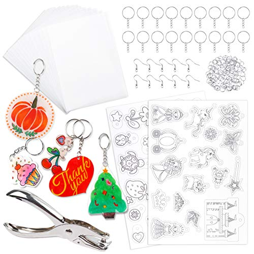 Mocoosy 138 Pcs Heat Shrink Plastic Sheets Kit, Shrinky Art Films Clear Sanded Shrink Sheets Include Blank Shrink Papers with Keychain Accessories and for Kids Creative Craft