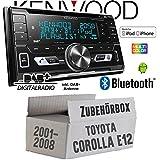 Autoradio Radio Kenwood DPX-7100DAB - 2DIN Bluetooth DAB+ Digitalradio USB CD MP3 Einbauzubehör - Einbauset für Toyota Corolla E12/120 - JUST SOUND best choice for caraudio