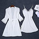 XYZMDJ Sexy Summer Womens Robe Bath Bath Top Top Kimono Pijamas Conjuntos Sleepwear Lady Home Wear Nightgown Traje Sleepshirts (Color : White, Size : L code)