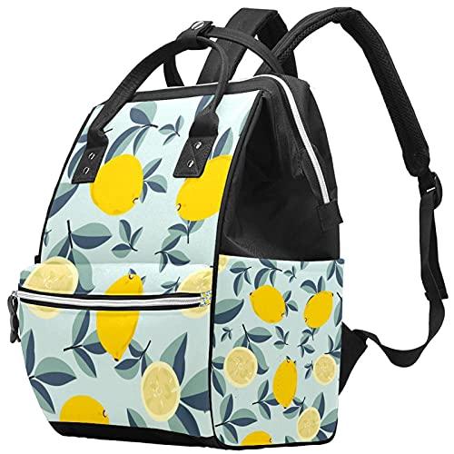 Yuelai Borsa per pannolini Zaino per laptop Zaino da viaggio da viaggio per donna, motivo tropicale senza cuciture con limoni gialli