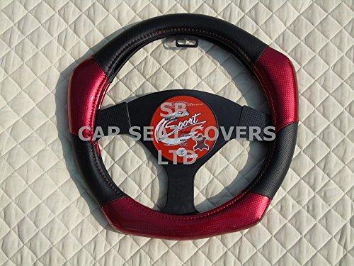 R – adecuado para Hyundai i20 coche activo, funda para volante, de fibra de carbono Look R1 rojo