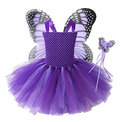inlzdz Disfraz Hadas Mariposa para Niña Conjunto de Traje de Mariposa con Alas Vestido Tutú Princesa Infantil Disfraz de Fiesta Carnaval Halloween Navidad Morado 2-3 años