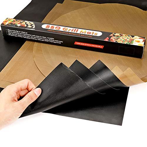 Howaf BBQ Grillmatten Dauerbackfolie 8er Set, LFGB Genehmigt Das Backpapier Backofenmatte – Wiederverwendbar Hitzebeständig Antihaftbeschichtet Zuschneidbar und Spülmaschinenfest (10xEckig, 2xRund)
