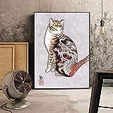 fdgdfgd Japonés Samurai Gato Lienzo Pintura Dibujos Animados Mascota Gato Gato Animal Cartel Sala de Estar decoración del hogar Mural