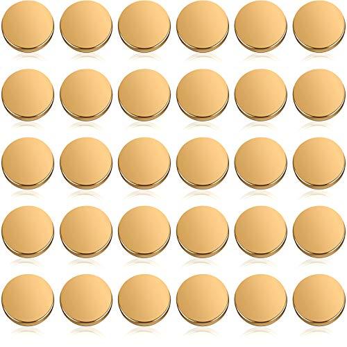 30 Botones Planos Metálicos Botón de Vástago de Aleación Botón Redondo de...
