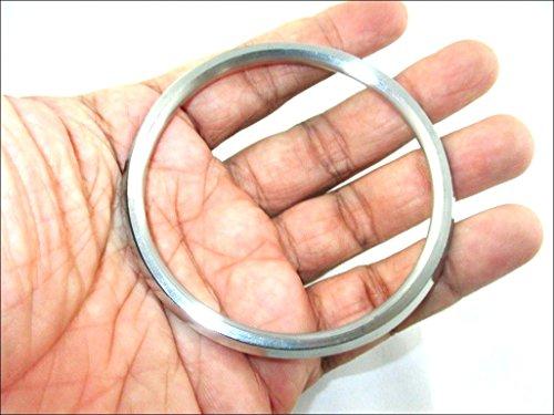 Porter Sikh/Panjabi Kristallsteinen Edelstahl Armband/Kara für Herren, 6,5cm Innendurchmesser x 0,6cm Dicke