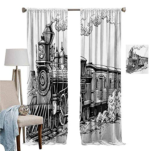 DRAGON VINES Wear Pole Curtains Curtains for Windows Rustic Old Train in Country Locomotive Wooden Wagons Rail Road with Smoke Black and White with Beautiful Patterns Set of 2 Panels W84 x L107