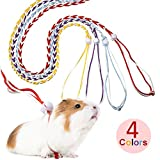 4 Pieces Adjustable Hamster Leash Small Animal Harness Rope Harness Towing Rope for Walking Pet Hamster Squirrel, 4 Colors