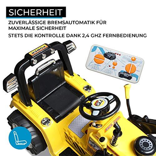 RC Auto kaufen Kinderauto Bild 4: Kinder Elektrobagger mit 2 x 25 Watt Motoren Elektro Bagger Kinderauto Kinderfahrzeug Spielzeug für Kinder Kinderspielzeug (Gelb)*