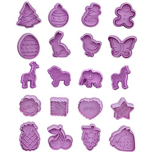 Cortador de Galletas de Plástico para Niños, 20 Piezas Juego de Cortadores de Galletas para Niños de Plástico, Cortadores de Galletas, para Navidad, Pascua, Acción de Gracias, Decoración de Pasteles