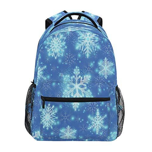 Fiocchi Di Neve Di Natale Blu Zaino per Bambini Studente Scolastico Zaino da Bookbag Borsa Del Libro per Viaggio Teenager Ragazze Ragazzi Capretto
