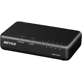 BUFFALO Giga対応 プラスチック筐体 AC電源 5ポート LSW6-GT-5EPL/NBK ブラック スイッチングハブ ローコストモデル 簡易パッケージ 壁掛け設置対応 日本メーカー