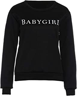 Women Crewneck Sweatshirt, Long Sleeve Hoodless Pullover Outwear Blouse Printing Baby Girl