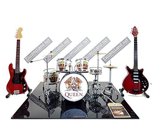 Mini Live Set Queen Bohemian Rhapsody Tribute Freddie Mercury Brian May Red Special Miniature Model Escaleras 1:4 Collectible Box Drum Kit batería guitarra modelo de colección