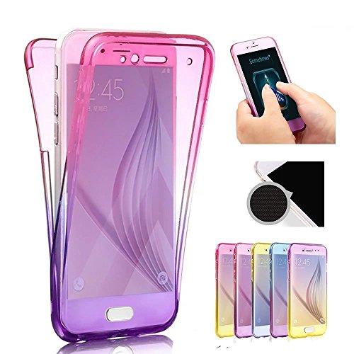 Sycode Coque Galaxy S8,Pente Gradient Couleur 360 Degré Ultra Mince Transparente Avant et Arrière Etui Housse Coque pour Samsung Galaxy S8-Rose Violet