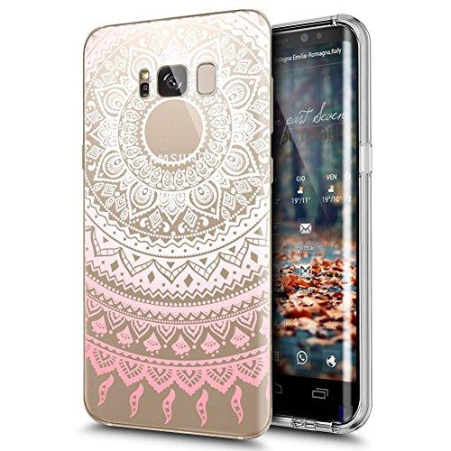 ikasus Compatible avec Coque Galaxy S8 Plus Etui Indische Sonne Mandala de fleurs motif Transparente Silicone Gel TPU Souple Housse Etui de Protection Case Coque pour Galaxy S8 Plus,Mandala #1