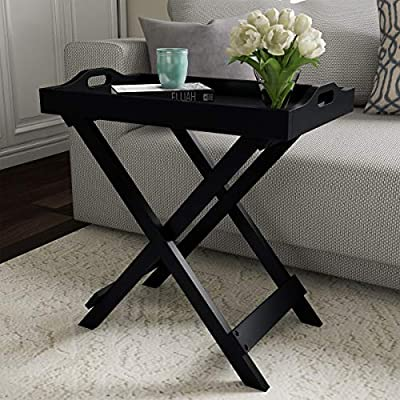 Lavish Home Decor Display and Home Accent Table with Removable Tray Top (Black),