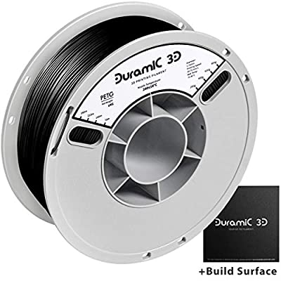 DURAMIC 3D PETG Printer Filament 1.75mm Black, 3D Printing Filament with Build Surface 200 x 200mm, 1kg Spool(2.2lbs), Dimensional Accuracy +/- 0.05 mm