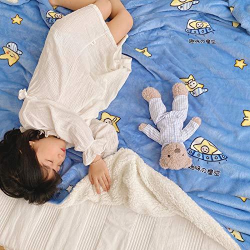 XUMINGLSJ Mantas para Sofás de Franela- Manta para Cama Reversible de 100% Microfibre Extra Suave -Azul_Los 90 * 110cm