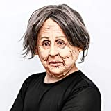 CreepyParty Novelty Halloween Costume Party Latex Human Head Mask Old Lady