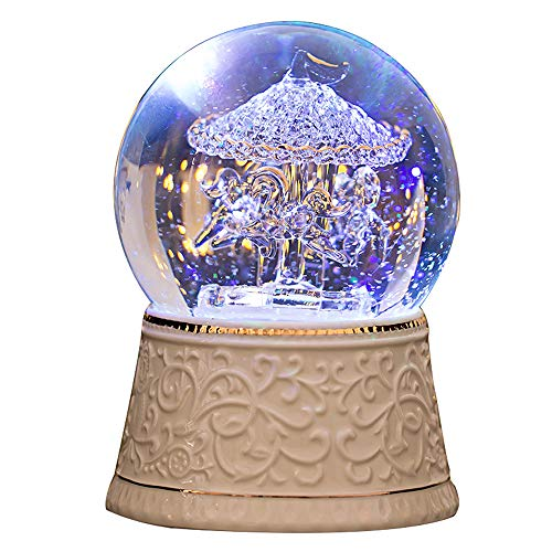 LOVE FOR YOU Unicorn Snow Globe, Carousel Horse Music Box,Home Decoration for...