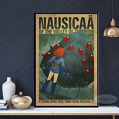 meishaonv Nausicaa della Valle del Vento Anime Studio Ghibli Poster Stampe su Tela Pittura Wall Art Picture A2486 50×70 CM Senza Cornice