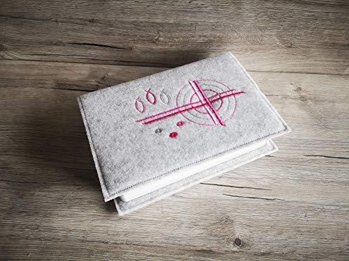 Gotteslobhülle - Gebetsbuch Hülle - Wollfilz -Kreuz - rosa - pink
