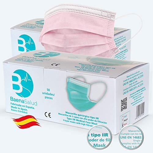 50 Mascarillas Quirúrgicas, higiénicas, desechables, Tipo IIR, en color rosa, filtración (BFE) 98%, hechas en España