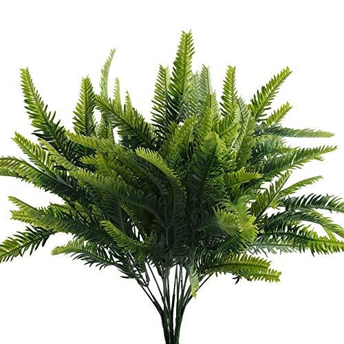 NAHUAA 4 Pcs Künstliche Farn Pflanzen Bostonfarn Zimmerpflanzen Deko Farne Kunstpflanzen für Drinnen Draußen Büro Balkon Zimmer Garten Topf Zuhause Frühling Dekoration Grün