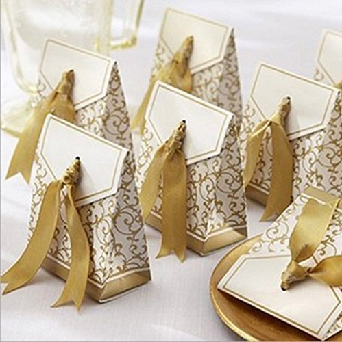 House Life 100 Pcs Gold Wedding Favor Favor Sweet Cake Gift Candy Boxes Bags Anniversary Party