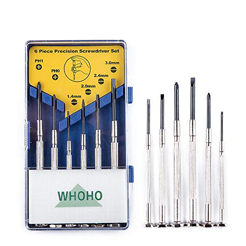 Whoho Growinghealthily - 6 Pcs Mini Precision Screwdriver Set, Perfect Portable Repair Tool, Flat Head and Phillips, Suitable for DIY Projects, Glasses Repair, Game Controllers, Repair Toys, Etc.
