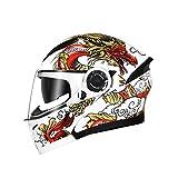 boaber Double Mirror Open Face Helm Herren Vier Jahreszeiten Universal Helm Elektrischer Motorradhelm Full Cover Bluetooth Damen Integralhelm - Weiß Rot Gelb - Persönlichkeit Muster (Größe : L)