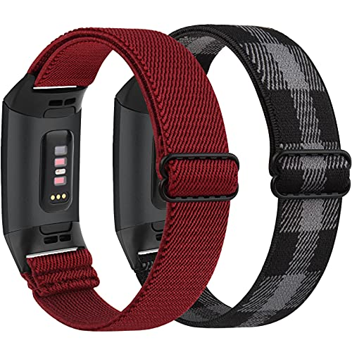 Pack 2 Elastic Bands for Fitbit Charge 4 / Fitbit Charge 3 / Charge 3 SE, Stretch Breathable Nylon Sport Wristbands Replacement for Fitbit Charge 4/Charge 3 for Women Men (Black Gray+Wine Red)