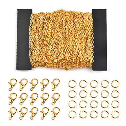 Cadena de Eslabones de Oro Cadena Oro 10m Collar de Cadena con 100pcs Anillos Abiertos y 30pcs Cierres de Langosta para Hombres Mujeres Hacer Fabricación DIY de Cadena de Joyería(1.5mm)