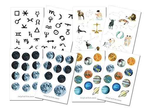 Astrologie Sticker Set | Aufkleber Mond | Journal Sticker | Sticker Wald | Bullet Journal Sticker, Mondphasen, Sternzeichen