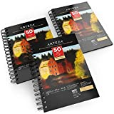 Arteza Black Sketch Pad, 5.5x8.5', Pack of 3, 150 Sheets (90lb/150gsm), 50 Sheets Each, Spiral-Bound, Heavyweight Paper, for Graphite & Colored Pencils, Charcoal