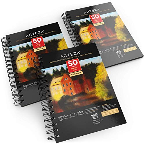 Arteza Black Sketch Pad, 5.5x8.5' , Pack of 3, 150 Sheets (90lb/150gsm), 50 Sheets Each, Spiral-Bound, Heavyweight Paper, for Graphite & Colored Pencils, Charcoal