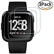 [3-Pack] Fitbit Versa Screen Protector,Qingduoduo[9H Hardness][No-Bubble][Crystal Clear][Scratch Resist] Waterproof Tempered Glass Screen Protector for Fitbit Versa Smartwatch