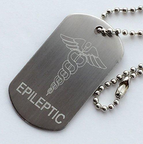 """Plakette / Erkennungszeichen """"Epileptic"""" - Notfallausweis aus Edelstahl und Kette + Button (T36)"""