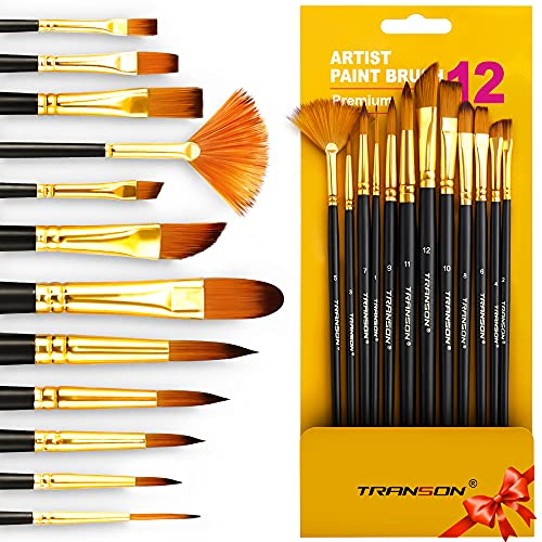 Transon Art Painting Brush Assorted Set of 12 for Acrylic Watercolor Gouache Hobby Painting