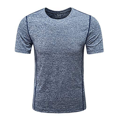 KurzäRmliges T-Shirt Sportpullover Herren Einfarbiges Baumwollhemd