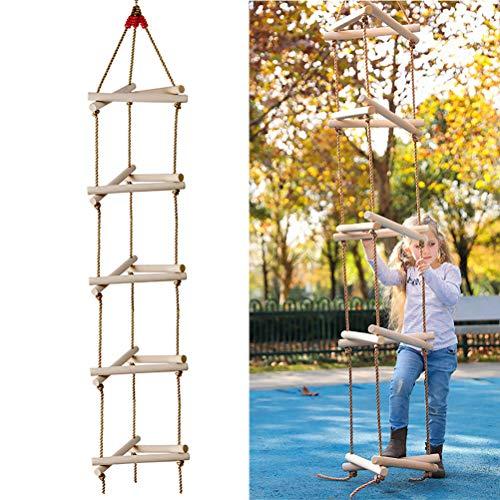 CCFCF Strickleiter 3D Dreieck Kletterleiter Schaukel Kinder Holzleiter Klettergerüst, 5 Sprossen, Bis 220lbs Belastbar