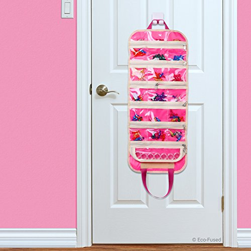 ECO-FUSED Fold Out Toy Organizer Storage Bag for Girls - Ideal for Toys, Accessories and Collectibles - Also Great for Arts & Crafts, Cupcake Decorations, Make-up, etc.