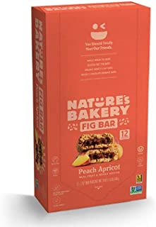 Nature's Bakery Whole Wheat Fig Bars, Peach Apricot, Real Fruit, Vegan, Non-GMO, Snack bar, 1 box with 12 twin packs (12 t...